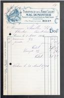 FACTURE 1904 PHARMACIE DE L ABBE SOURY MAG. DUMONTIER PHARMACIEN 1 RUE D ALSACE LORRAINE A ROUEN - France