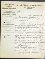 FACTURE 1904 A L ETOILE MAGNETIQUE 45 RUE JACOB A PARIS ELECTRICITE TELEPHONE LAMPE - France