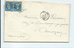 Deux N° YT 22 Sur Lettre De Saumur Pour Auverse Maine Et Loire 1865 - Marcophilie (Lettres)