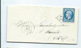 N° YT 22 Sur Lettre De Pons Pour Saintes 1866 - Marcophilie (Lettres)