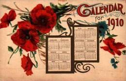 Date Millesime - 1910 - Calendrier Calendar Coquelicot - Embossed, Gaufrée - Neujahr