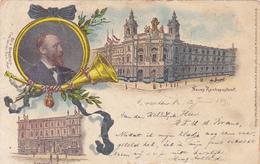 669/ OUde Litho Dresden, Neues Reichspostamt, Sterbehaus, 1897 - Dresden