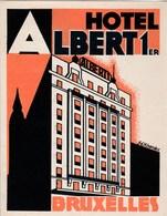 Etiquette De Bagage Valise Tag Valigia Hotel Albert 1er Bruxelles (Belgique) Illustrateur Hardez  état Neuf - Advertising