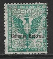 Eritrea Scott # 21 Used Italy Stamp Overprinted,1903, Short Perf - Eritrea