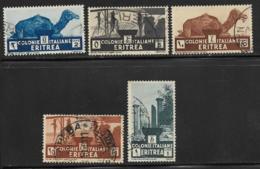 Eritrea Scott # 158-61,164 Used Various Designs, 1934, #164 Has Corner Crease - Eritrea