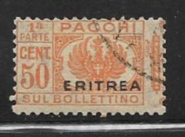 Eritrea Scott # Q4 Part 1 Used Italy Parcel Post, Overprinted, 1916 - Eritrea
