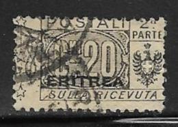 Eritrea Scott # Q11 Part 2 Used Italy Parcel Post, Overprinted, 1917 - Eritrea