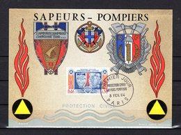 """"""" SAPEURS POMPIERS """" Sur Carte Maximum De 1964. N° YT 1404. Parfait état. CM - Firemen"""