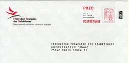 Pret A Poster Reponse PRIO (PAP) Fédération Française Des Diabétiques Agr. 169777 - Ciappa-Kavena - Entiers Postaux