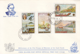Cook Islands 1968 2 FDCs Sc #233-#236, #C12-#C15 Captain Cook's First Voyage, 200th Anniversary - Cook
