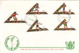 Cook Islands 1969 2 FDCs Sc #254-#258 Soccer, Pole Vault, Boxing, Tennis - Sports - Cook