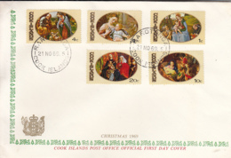 Cook Islands 1969 FDC Sc #268-#272 Christmas Paintings - Cook