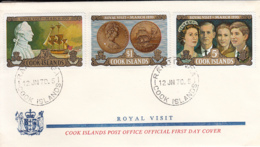 Cook Islands 1970 FDC Sc #284-#286 Capt. Cook Statue, Ship, Coin, Royal Family Royal Visit - Cook