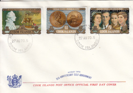 Cook Islands 1970 FDC Sc #287-#289 Capt. Cook Statue, Ship, Coin, Royal Family Self-government - Cook