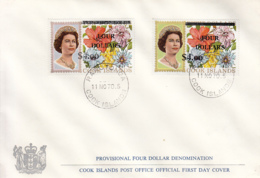 Cook Islands 1970 FDC Sc #290-#291 $4 Surcharges On $8, $10 Flowers - Cook