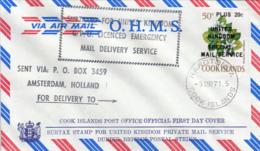 Cook Islands 1971 FDC Sc #296C 20c Surcharge UK Postal Strike - Cook