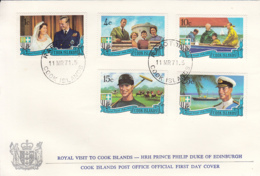 Cook Islands 1971 FDC Sc #297-#301 Royal Visit Prince Philip - Cook