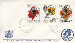 Cook Islands 1971 FDC Sc #302-#304 Overprint 4th South Pacific Games - Cook
