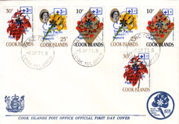 Cook Islands 1971 FDC Sc #B8-#B13 Surcharged Overprints 4th South Pacific Games - Cook