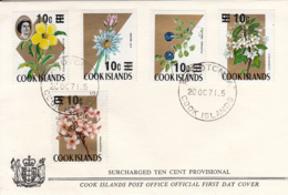 Cook Islands 1971 FDC Sc #305-#309 10c Surcharges On Flowers - Cook