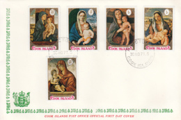Cook Islands 1971 FDC Sc #310-#314 Christmas Paintings Bellini - Cook