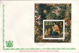 Cook Islands 1971 FDC Sc #B14 Christmas Paintings Bruegel The Elder, Van Avont - Cook