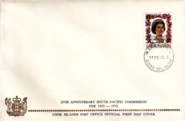 Cook Islands 1972 FDC Sc #315 Overprint On $1 QEII South Pacific Commission - Cook