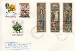 Cook Islands 1972 FDC Sc #B15-#B20 Surcharges Hurricane Relief Easter, Flowers - Cook