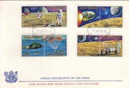 Cook Islands 1972 FDC Sc #319-#322 Apollo Moon Explorations - Cook