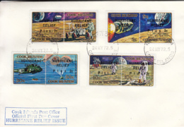 Cook Islands 1972 FDC Sc #B21-#B24 Surcharges Hurricane Relief On Apollo Moon Explorations - Cook
