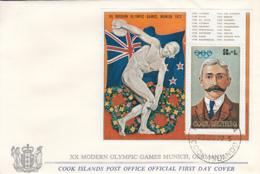 Cook Islands 1972 FDC Sc #B29 Souvenir Sheet Pierre De Coubertin Munich Olympics - Cook