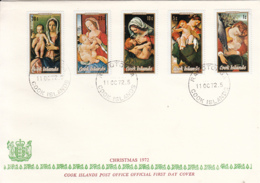 Cook Islands 1972 FDC Sc #330-#334 Christmas Paintings - Cook