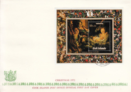 Cook Islands 1972 FDC Sc #B30 Nativity By Correggio Christmas Paintings - Cook