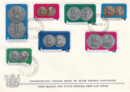 Cook Islands 1973 FDC Sc #339-#345 Coinage For Silver Wedding Anniversary - Cook