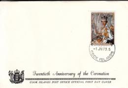 Cook Islands 1973 FDC Sc #349 QEII 20th Anniversary Coronation - Cook