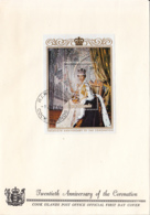 Cook Islands 1973 FDC Sc #350 Souvenir Sheet QEII 20th Anniversary Coronation - Cook