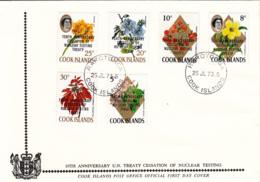 Cook Islands 1973 FDC Sc #351-#356 Overprint 10th Ann Cessation Nuclear Testing Treaty - Cook