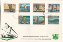 Cook Islands 1973 FDC Sc #357-#363 Historic Sailing Vessels South Pacific - Cook