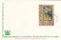 Cook Islands 1973 5 FDCs Sc #B34-#B38 Souvenir Sheets Christmas 15th Century Prayer Book - Cook