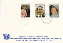 Cook Islands 1973 FDC Sc #369-#371 Royal Wedding Princess Anne, Mark Phillips - Cook