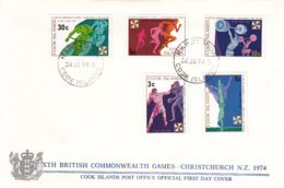 Cook Islands 1974 FDC Sc #372-#376 Commonwealth Games Cycling, Boxing, Diving - Cook