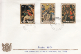 Cook Islands 1974 FDC Sc #378-#380 Easter Paintings Raphael, El Greco, Caravaggio - Cook