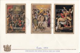 Cook Islands 1974 FDC Sc #B39-#B41 Souvenir Sheets Easter Paintings Raphael, El Greco, Caravaggio - Cook