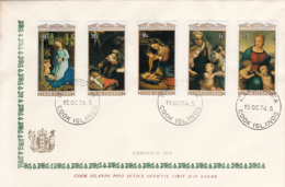 Cook Islands 1974 FDC Sc #412-#416 Christmas Paintings - Cook