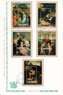 Cook Islands 1974 FDC Sc #B42-#B46 Souvenir Sheets Christmas Paintings - Cook