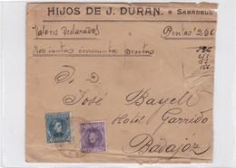 HIJOS DE DURAN. ENVELOPE VALOR DECLARADO SABADELL A BADAJOZ, ESPAÑA. AÑO 1909, AVEC LACRES- BLEUP. - 1889-1931 Kingdom: Alphonse XIII