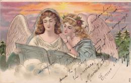 ANGELES ANGELS AVEC RELIF ET DOREE. CIRCULEE 1907 L'ARGENTINE A URUGUAY. TIMBRE ARRACHE - BLEUP. - Engelen