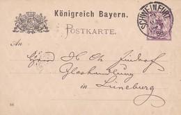 ENTIER CIRCULEE SCHWEINFURT A LINEBURG AN 1888 BAVIERA - BLEUP. - Deutschland