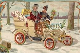 Année Date Millésime - 1904 - 2 Femmes Dans Un Tacot, Gaufrée Embossed - Nouvel An