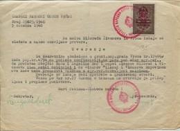 Yugoslavia 1946, 1941 WWII Nazi Occupation Red Overprinted DFJ 20d Tax Stamp, Revenue Document - 1945-1992 République Fédérative Populaire De Yougoslavie